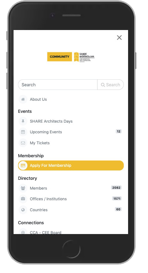 SHARE Architects community app is available on mobile