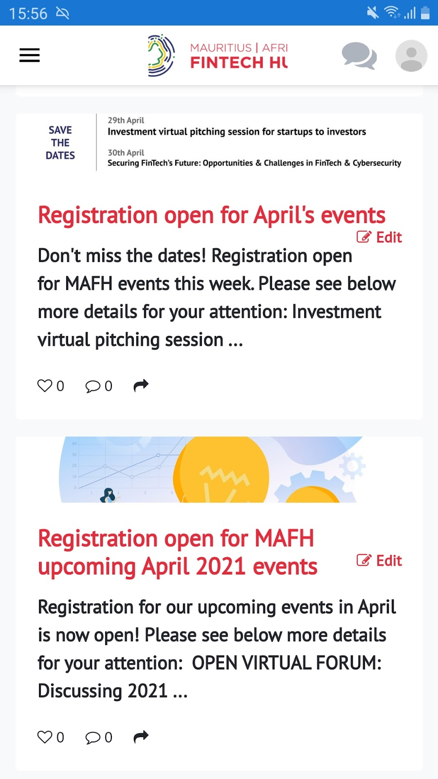 Fintech Updates their members about upcoming events