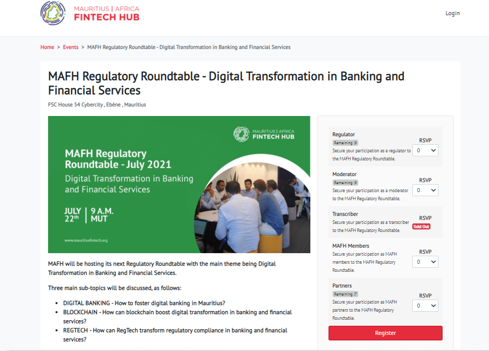 Fintech Events Page Example of a Association Community Software
