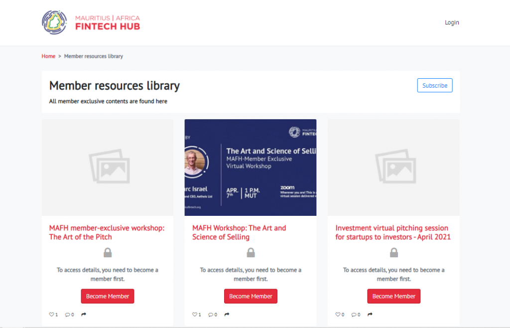 Fintech Hub's Member Resources Library, exclusive content for their member groups