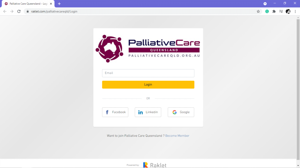 Palliative Care Queensland's log in page to their Accounting Software