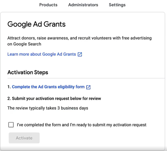 Google Ad Grant - Step 2 - Eligibility Form