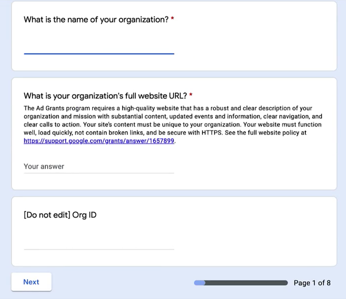 Google Ad Grant - Step 3 - First three form questions, name, url, ID