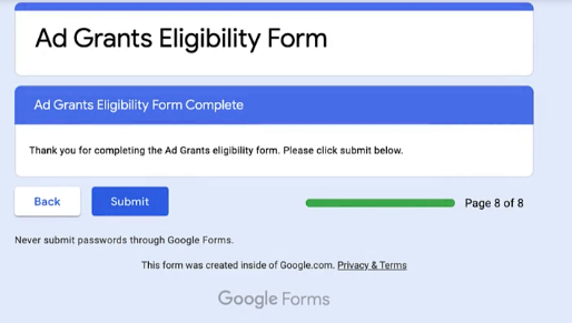 Google Ad Grant - Step 5 - Submit the form
