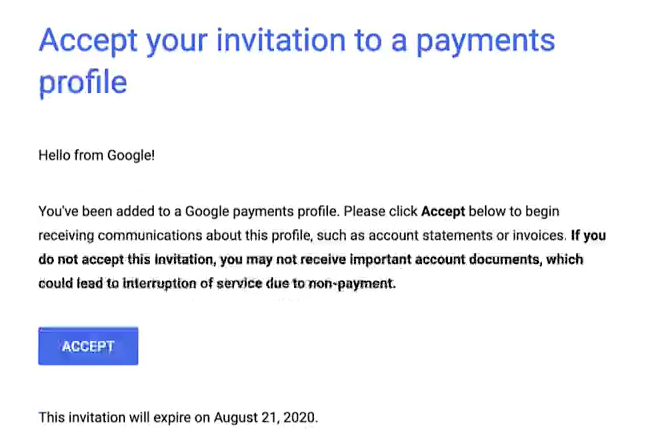 Google Nonprofit Ad Grant - Step 10 - Accept invitation from Google Payments