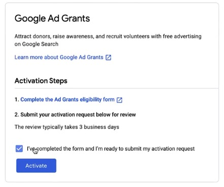 Google Ad Grant - Step 7 - Activate your application
