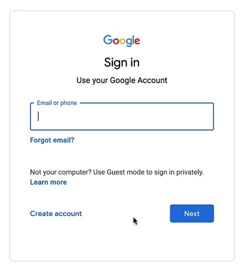 Google NP Account - Step 1 - Sign in