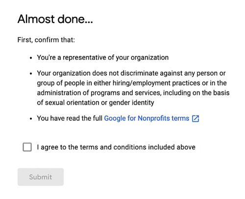 Google NonProfit Account - Step 13 - Terms and Conditions