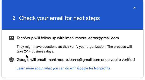 Google NonProfit Account - Step 14 - Check your email