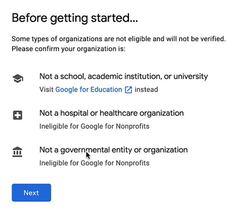 Google NP Account - Step 2 - Before getting started