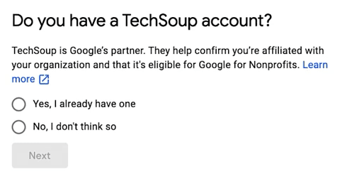 Google NP Account - Step 5 - TechSoup Question