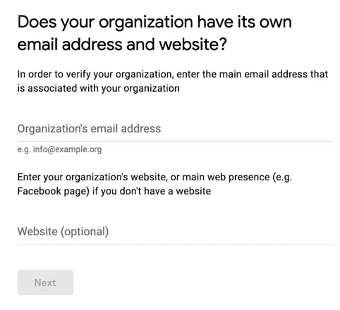 Google NonProfit Account - Step 9 - Organization Email and Website